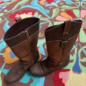 BOC Girls Two Tone Leather Riding Boots Brass